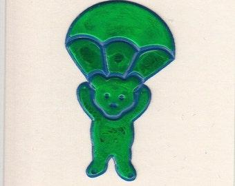 ON SALE Rare Vintage Oilie Teddy Bear with Parachute Sticker - Oily Skydive Iridescent