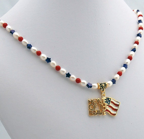 American Flag Home of the Brave Red White & Blue Natural Stone Choker Necklace, Pearl Jade and Howlite Pendant Choker