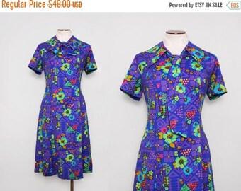 1970s Psychedelic Dress / Vintage 70s Retro Dress Purple / Large