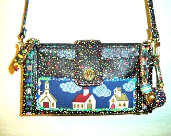 Recycled purse wallet hand painted