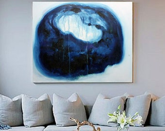 Original large abstract painting oil on canvas blue and white home decoration