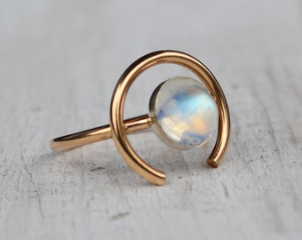 Rainbow Moonstone Orb Ring, 14K Gold Ring, Round Gemstone Ring, Fine Jewelry, Gold Circle Ring, Crescent Statement Ring, Moonstone Ring