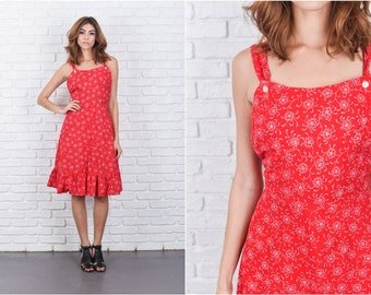 Vintage 70s Red Boho Dress Floral Print A Line Small S 7715 vintage dress 70s dress red dress floral dress a line dress small dress
