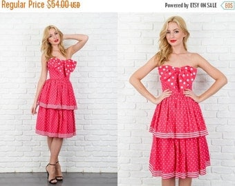 ON SALE Vintage 80s Pink Retro Dress Victor Costa Polka Dot stripe peplum Bow XS 3960