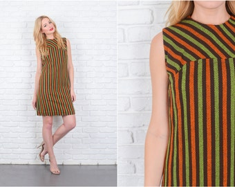 Vintage 60s 70s Brown + Green Striped Wool Mod Sleeveless Mini Orange Small S 6408 vintage dress 60s dress 70s dress brown dress mini dress