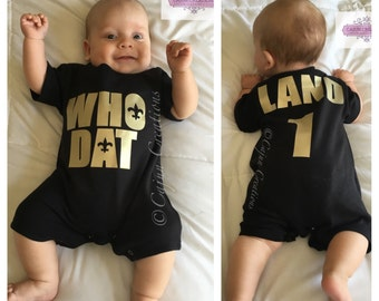 Saints baby, Who Dat baby romper, New Orleans Saints inspired shirt, baby bodysuit, football baby, all in one, personalized infant & toddler