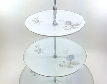 Royal Selb Grey Roses Three Tier Stand Cupcake Tray Wedding Decor