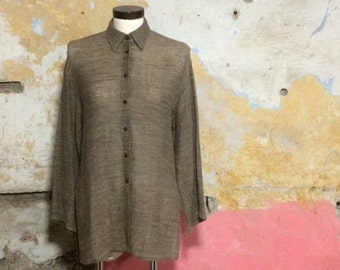 1990s Jaeger Mixed Linen Taupe Shirt Size Small