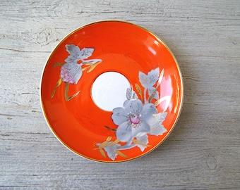 2 Gold Rim Floral Plates, Vintage Orange Purple Decorative Breakfast Plates, Vintage Soviet Porcelain, Mid Century Restaurant Cafe Serving