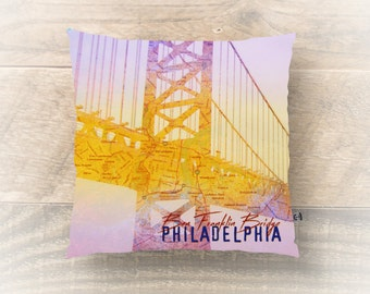 Philadelphia Throw Pillow. Ben Franklin Bridge Map City Decor. You choose indoor or . Product Sizes and Pricing via Dropdown Menu