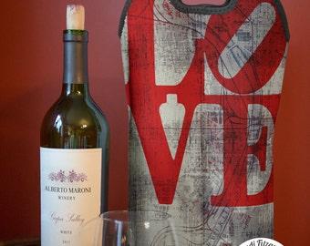 BYOB Wine Bag   Love Park Philadelphia Map   Neoprene Wine Carrier Tote    Single or Double Available