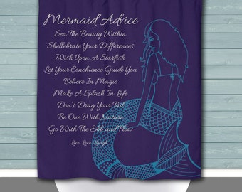 Mermaid Shower Curtain: Mermaid Advice Purple & Blue Nautical Decor | 12 Eyelet/Button Hole | Size and Pricing via Dropdown
