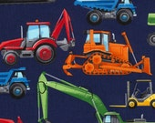 """End of Bolt- 26""""x44"""" Construction Vehicles on Navy from Timeless Treasures"""