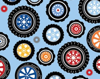 Wheels Polka Dots on Blue From Adorn It