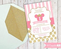 Printable Princess Minnie Mouse Birthday Invitation file - with or without photo - pink and gold glitter