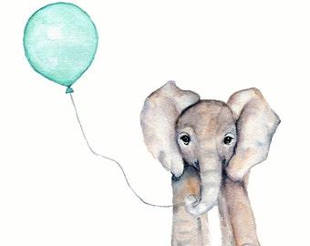 elephant watercolor, mint nursery art, kids elephant art, nursery decor, nursery print animals, gender neutral nursery decor