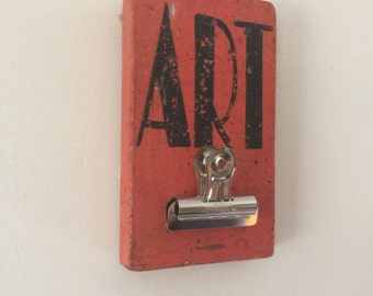 Colorful Clipboard Art Gallery Sign,Weathered Aged Coral,  Handpainted Distressed Wooden Sign
