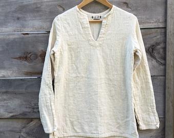 organic cotton double gauze sleeveless henley silt