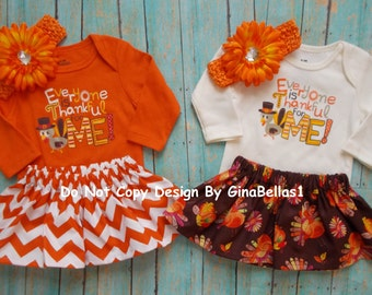 Thanksgiving outfit onesie Everyone is thankful for me orange OR cream chevron dress skirt headband 0 3 6 9 12 18 YES arrive in time