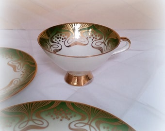 Mid Century Mod Tea Trio - Swirls of Gold Gilt Over Green - Teacup, Saucer and Dessert Plate