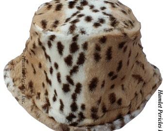 Clouded Leopard Faux Fur Unisex Bucket Hat | Pillbox Faux Fur Hat | Animal Print | Plush Hat | Furry Hat | Winter Hat by Hamlet Pericles