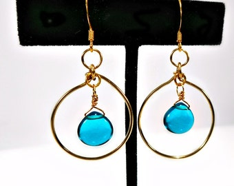 14kt Gold Fill Hoop Hoop earrings w Teal Quartz Briolette,gift for her under 25, light teal, dark aqua, hanging hoops, 1 inch wide, trending