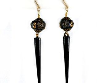 Black Kashmiri & Spike Earrings,goth, rocker, punk, handmade gold fill wire ear hooks, long dangle earrings,  edgy statement jewelry