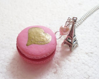 French Macaroon Pendant. Polymer Clay.