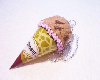 Big Ice cream Pendant.  Polymer clay.