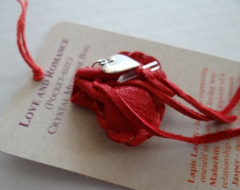 Love & Romance Handmade Pocket Size Crystal Mojo Medicine Bag