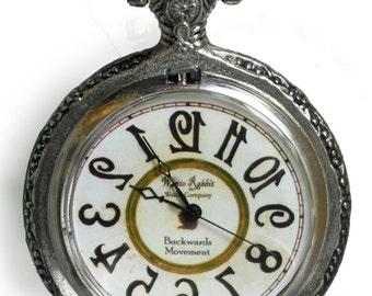 Backwards Pocketwatch, White Rabbit's watch. Alice in Wonderland, Mad Hatter watch, Runs backwards!