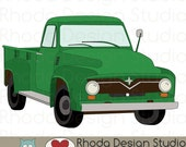 Green Route 66 Vintage Pickup Truck Stamp Digital Clip Art Retro