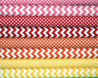 Fabric bundle for quilt or craft Riley Blake warm colorway Stash Builder bundle 8 Half yards