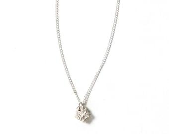 Silver Lava Rock Necklace