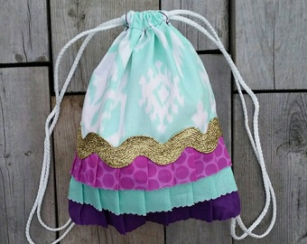 Mint Drawstring Ruffle Backpack - Toddler Backpack - Mint Purple Gold