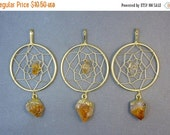 15% off Christmas in July Citrine Dream Catcher Pendant with Citrine Quartz Nugget and Dangling Point Gold Plated (S25B7-02)
