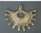 15% Valentines Day Tibetan Brass Pendant- Brass Pendant with Brass Repousse Designs (S44a-B9-01)