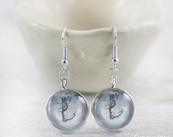 Blue Earrings - Earrings - Grey Earrings - Handmade Earrings - Tree Earrings - Art Jewelry - Unique Earrings (0-23E)