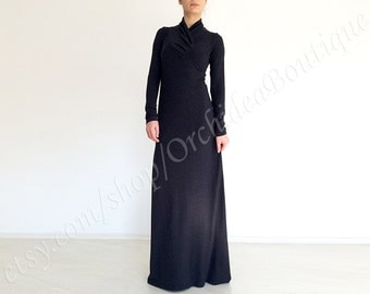 ARGENTA Maxi jersey dress with long sleeves black melange drape neckline