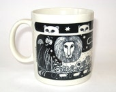 Taylor & Ng Primitives Mug - Black Lion Leopard Big Cats Original Old 1978 Japan