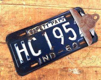 Indiana Vintage LICENSE PLATE Clipboard | 1960s Metal Car License Plate | Industrial Photo Holder / Photo Display | Rustic Garage Americana