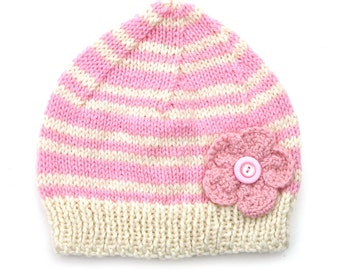 Womens / Ladies Pink Knitted Wool Beanie Hat : Flower & Buttons ADULTS - Birthday, Christmas Gift Idea