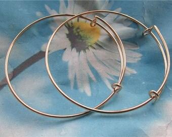 10pc rose gold round bangle bracelets wires--size adjustable