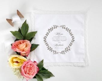 Grey Laurel Mother of the Bride or Mother of the Groom Handkerchief