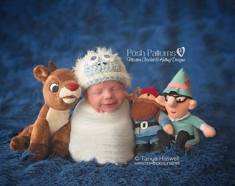 Crochet PATTERN - Bumble Abominable Snowman Beanie - Crochet Hat Pattern - Newborn to 3 Months - Photo Prop Pattern - PDF 340