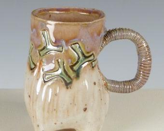 "Pale Purple and Cream ""T"" Mug - Ceramic Coffee Mug, Tea Cup"