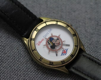 Vintage Mickey Mouse Watch Nautical Bronze toned case Disney