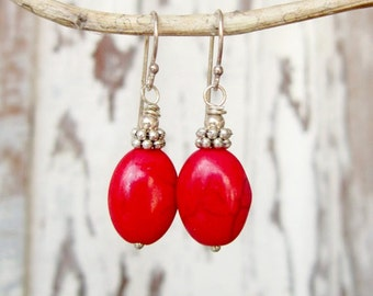 Red Earrings. Red Turquoise Dangle Earrings. Red Howlite Turquoise Drop Earrings. Red Turquoise Jewelry. Red Jewelry.Red Bridesmaid Earrings