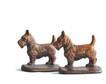Vintage Bookends - Scottie Dog - Scottish Terrier - Vintage Doorstop - Paperweight - Dog Bookends - Home Decor - Book Accessories
