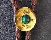 Shotgun Bolo Tie Winchester brass 12 gauge with malachite